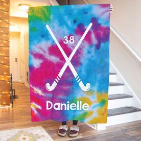 Field Hockey Premium Blanket - Personalized Tie Dye Pattern With Field Hockey Sticks