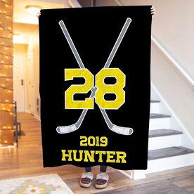 Hockey Premium Blanket - Personalized Player Crossed Sticks