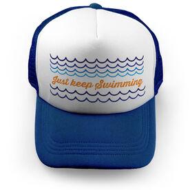 Swimming Trucker Hat Just Keep Swimming
