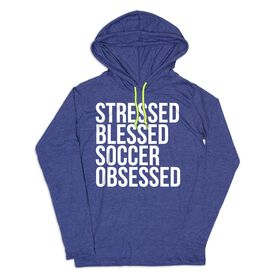 Women's Soccer Lightweight Hoodie - Stressed Blessed Soccer Obsessed