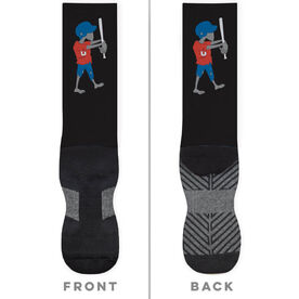 Softball Printed Mid-Calf Socks - Zombie Softball Player