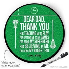 Guys Lacrosse Circle Plaque - Dear Dad