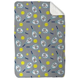 Tennis Sherpa Fleece Blanket - Racket And Ball Pattern