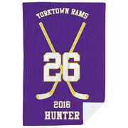 Hockey Premium Blanket - Personalized Team Crossed Sticks