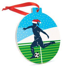 Soccer Round Ceramic Ornament - Girl Silhouette with Santa Hat