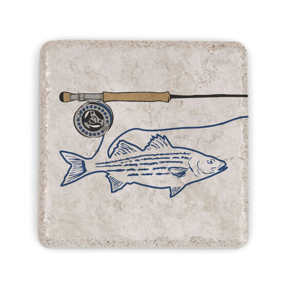 Fly Fishing Stone Coaster - Striper