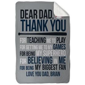 Baseball Sherpa Fleece Blanket - Dear Dad