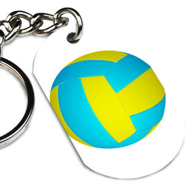 Volleyball Printed Dog Tag Keychain Volleyball Graphic