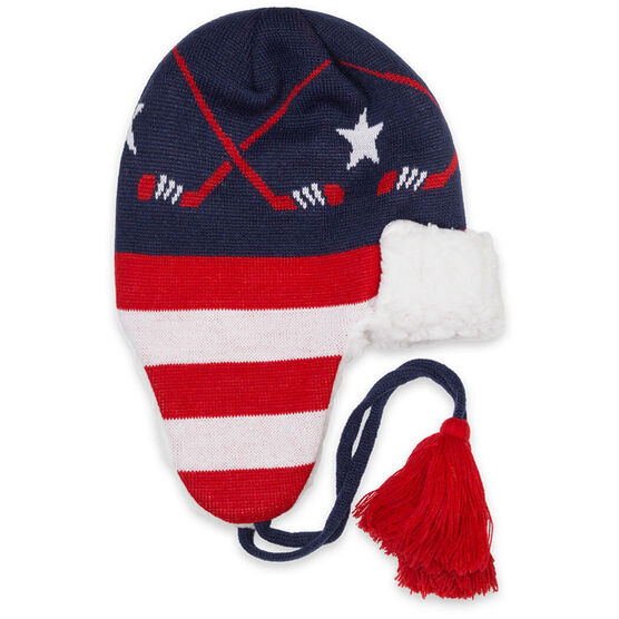 Hockey Sherpa Trapper Hat - Patriotic