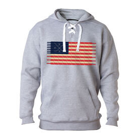 Hockey Sport Lace Sweatshirt Hockey Laces Flag
