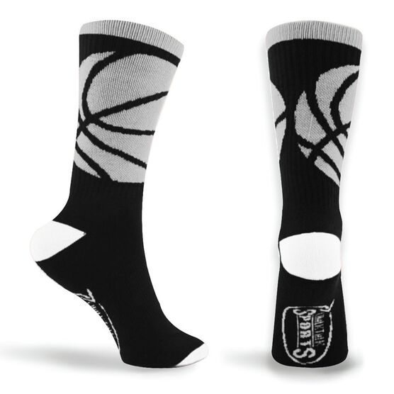 Basketball Woven Mid Calf Socks - Ball Wrap (Black/White)