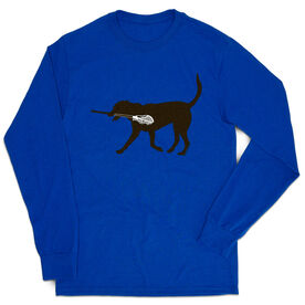 Guys Lacrosse Tshirt Long Sleeve - Max The Lax Dog