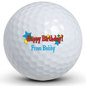 Happy Birthday Stars Golf Balls