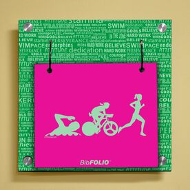 Personalized Swim Bike Run Inspiration Female Wall BibFOLIO® Display