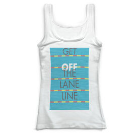Swimming Vintage Fitted Tank Top - Get Off The Lane Line