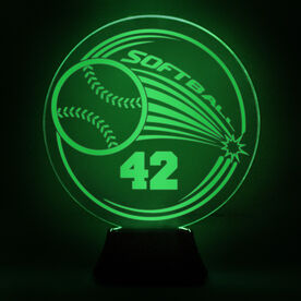 Softball Acrylic LED Lamp Home Run With Number