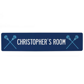 "Guys Lacrosse Aluminum Room Sign - Your Room Lacrosse Sticks (4""x18"")"