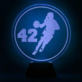 Basketball Acrylic LED Lamp B-ball Girl With Number