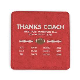 Football Stone Coaster - Thanks Coach Roster