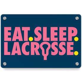 Girls Lacrosse Metal Wall Art Panel - Eat Sleep Lacrosse
