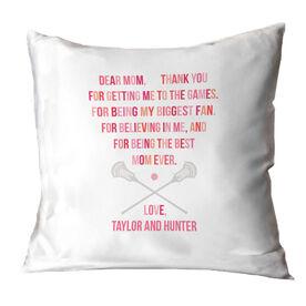 Guys Lacrosse Throw Pillow - Dear Mom Heart