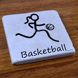Basketball Girl (Stick Figure) - Stone Coaster