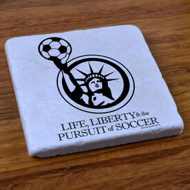 Life Liberty and the Pursuit of Soccer - Stone Coaster