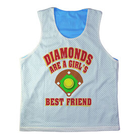 Girls Softball Racerback Pinnie Personalized Diamonds Are A Girl's Best Friend