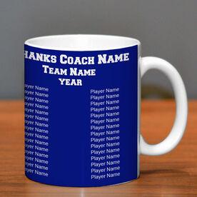 Lacrosse Coffee Mug Thanks Coach Custom Logo With Team Roster