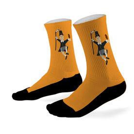 Hockey Printed Mid Calf Socks Hockey Player Pilgrim