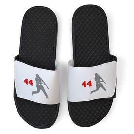 Baseball White Slide Sandals - Batter with Number