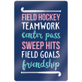 "Field Hockey 18"" X 12"" Aluminum Room Sign - Words with Sticks"