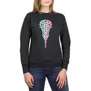 Girls Lacrosse Crew Neck Sweatshirt - Lacrosse Stick Heart