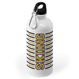 Skiing 20 oz. Stainless Steel Water Bottle - Word With Stripes