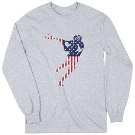 Guys Lacrosse Long Sleeve T-Shirt - American Flag Silhouette