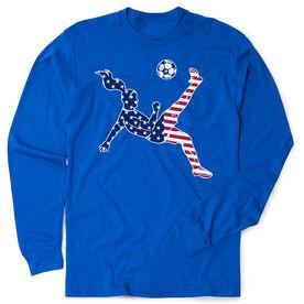Soccer Tshirt Long Sleeve - Girls Soccer Stars and Stripes Player