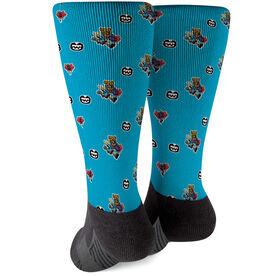 Seams Wild Football Printed Mid-Calf Socks - Spotz (Pattern)