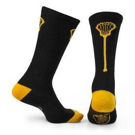 Lacrosse Woven Mid Calf Socks - Single Stick (Black/Gold)