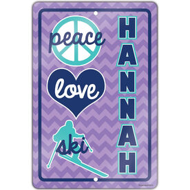 "Skiing 18"" X 12"" Aluminum Room Sign Personalized Peace Love Ski Chevron"