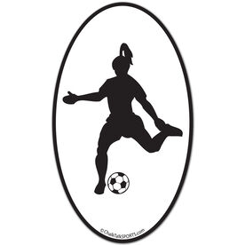Soccer Girl Oval Car Magnet (Black)