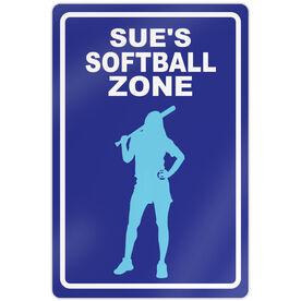 "Softball Aluminum Room Sign Personalized Softball Zone Batter (18"" X 12"")"