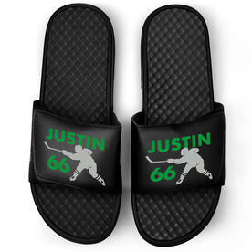 Hockey Black Slide Sandals - Personalized Hockey Shooter