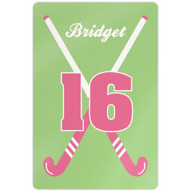 "Field Hockey Aluminum Room Sign (18""x12"") Personalized Crossed Girl Sticks"