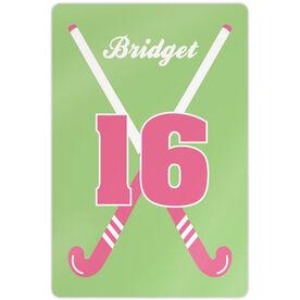 "Field Hockey Aluminum Room Sign (18""x12"") Personalized Crossed Girl Sticks"