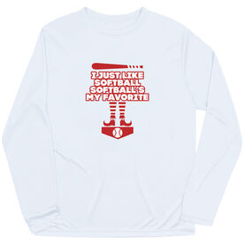 Softball Long Sleeve Performance Tee - Softball's My Favorite