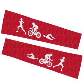 Triathlon Printed Arm Sleeves - Swim Bike Run Female Icons