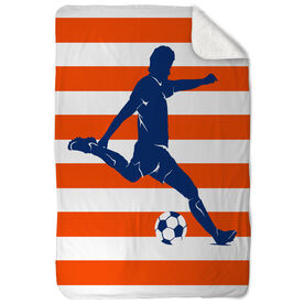 Soccer Sherpa Fleece Blanket - Stripes with Guy Player