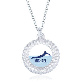 Swimming Braided Circle Necklace - Male Swimmer Silhouette With Name