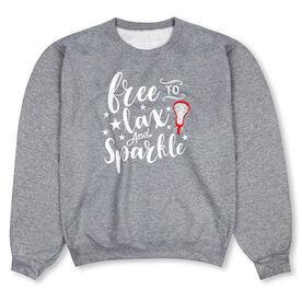 Girls Lacrosse Crew Neck Sweatshirt - Free To Lax And Sparkle