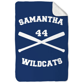 Softball Sherpa Fleece Blanket Personalized Crossed Bats